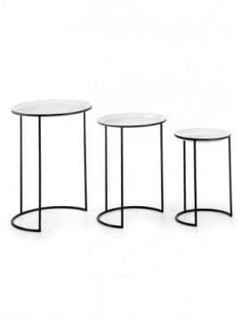 Set 3 Mesas Metal Negro Blanco